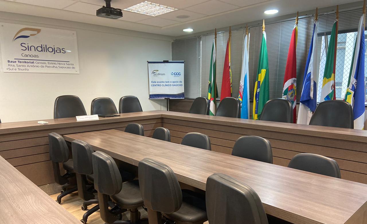 Locação de sala de reunião no Sindilojas Canoas.